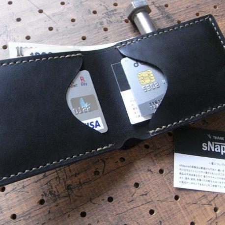 シンプルウォレット(札カード入れ)商品画像007:カード収納は2カ所で、左は1枚~2枚、右は3枚~7枚程度収納できます